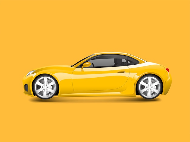 Yellow sports car in a yellow background vector Free Vector
