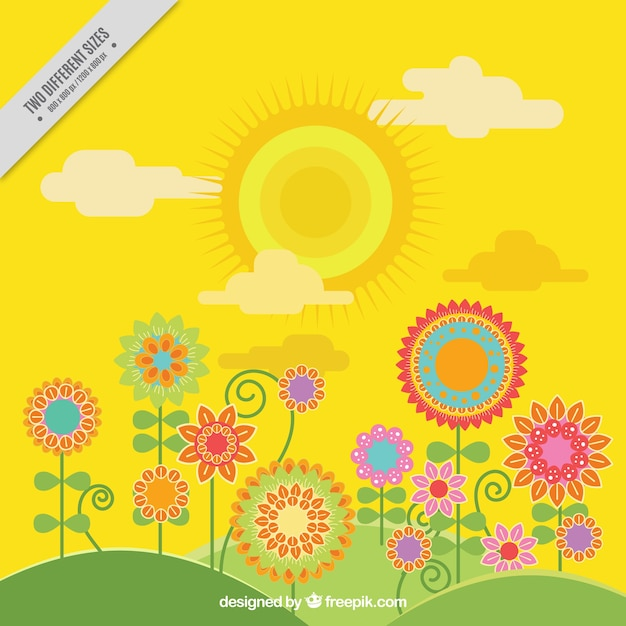 Yellow spring background with flowers in flat\ design
