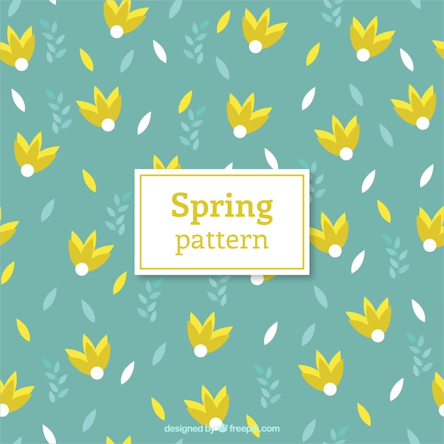 Yellow spring flowers pattern