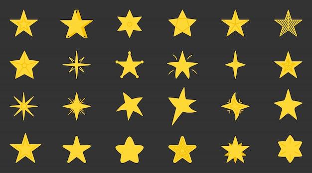 黄色の星のアイコンを設定します。 webサイト、ピクトグラム、アプリのフラットシンプルなグラフィック星空要素コレクション。ゲームでの賞として、さまざまな形の漫画の星。 Premiumベクター