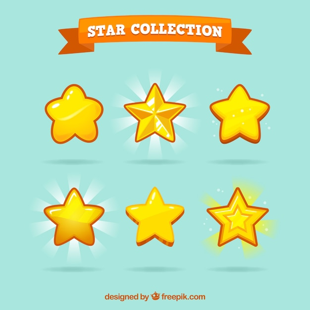 Yellow star pack Free Vector