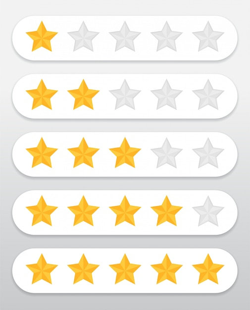 Yellow star symbol quality rating of products and services of customers through the website Premium Vector