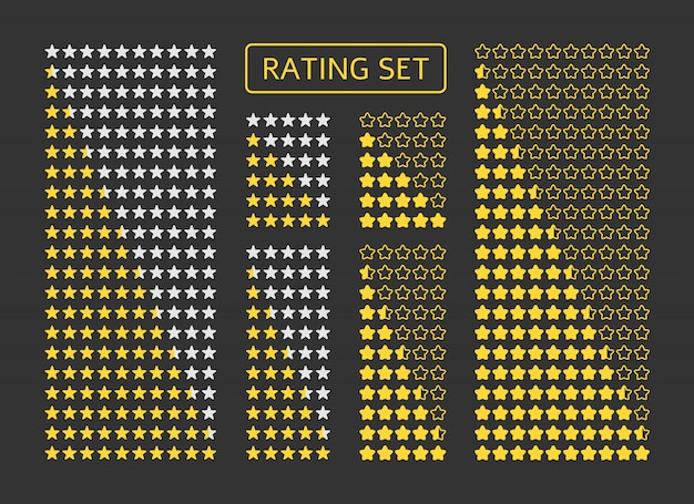 Yellow stars rating set. symbol of product quality, game level, customer review. Premium Vector