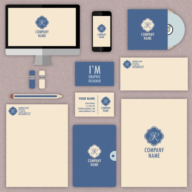 Blue Corporate Stationary Pack By Betty Design: Compilation: 22 Free Corporate Brand Identity Packages