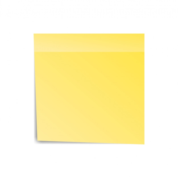 Yellow sticker paper note for notice. sticky page. blank with shadow isolated on white background. vector illustration Premium Vector