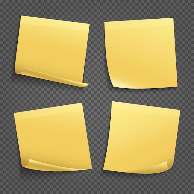Желтые записки изолированные Premium векторы