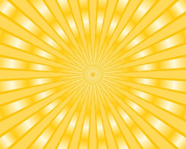 金色の光線と黄色の縞模様の背景 無料ベクター