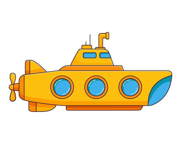 Yellow submarine underwater ship. Premium Vector