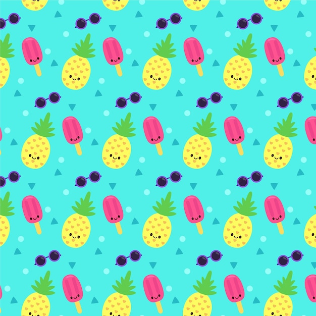 Yellow summer pattern with ice cream and pineapple Free Vector