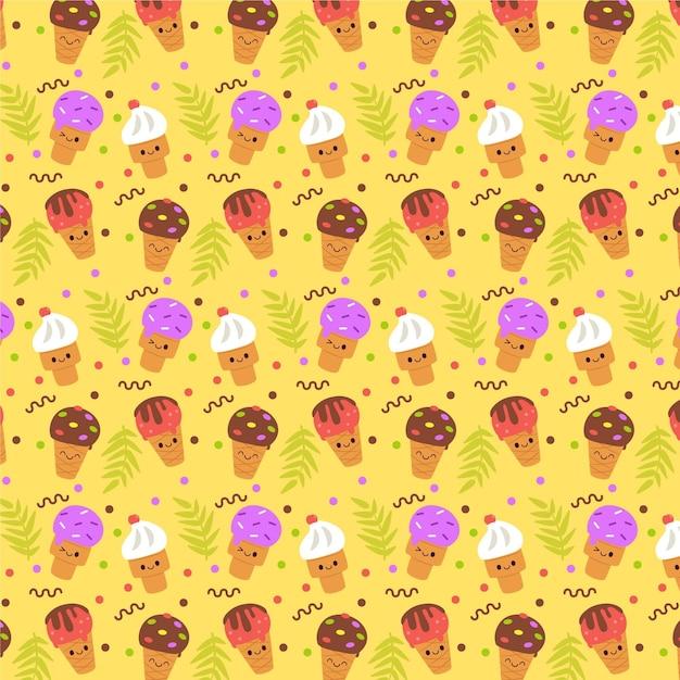 아이스크림 노란색 여름 패턴 프리미엄 벡터