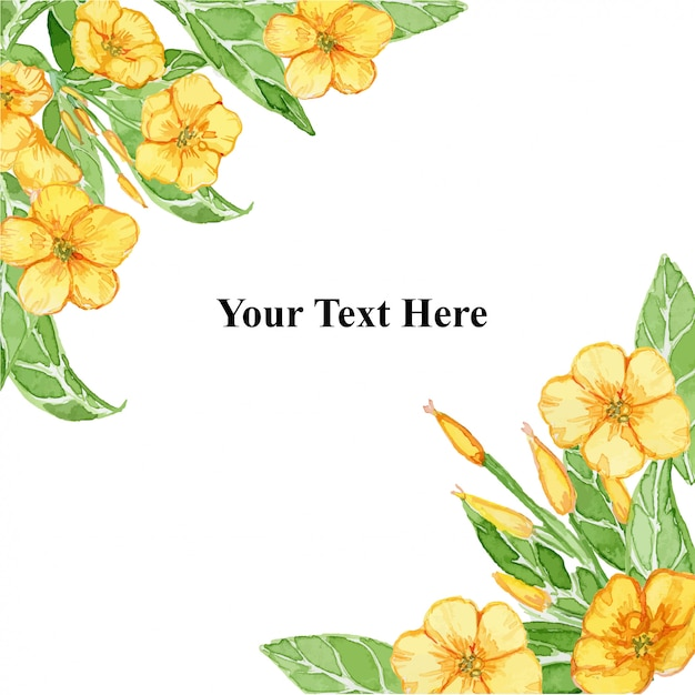 Yellow summer ranunculus flower  frame watercolor illustration Premium Vector