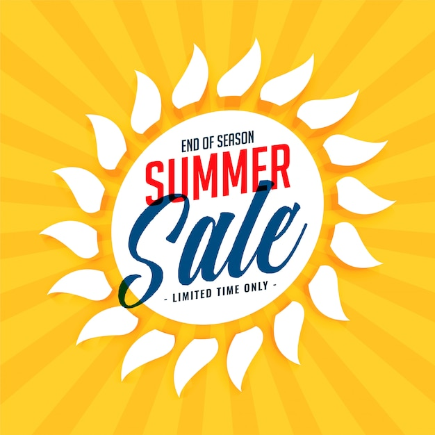 Yellow summer sale sun background Free Vector