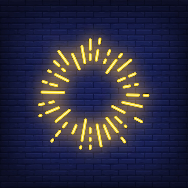 Yellow sun ray circle on brick background. Neon style illustration. Firework, frame Free Vector