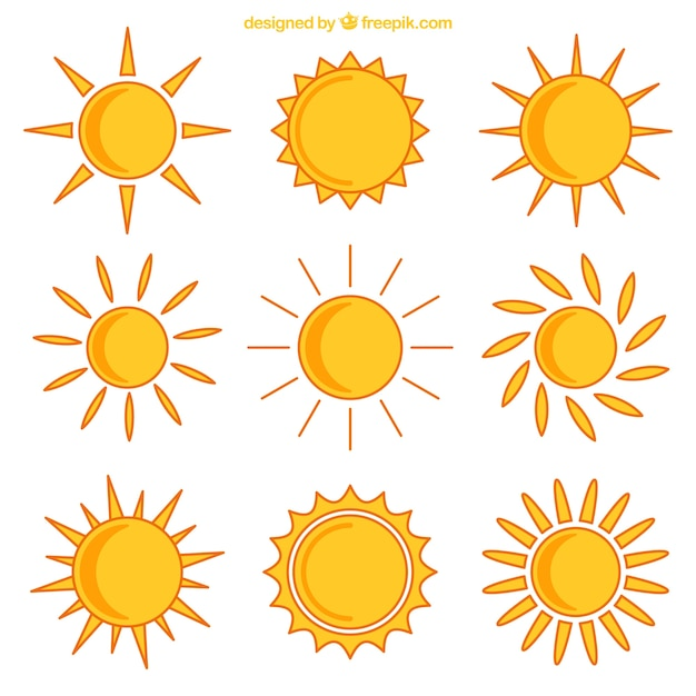 Yellow sunny icons Free Vector