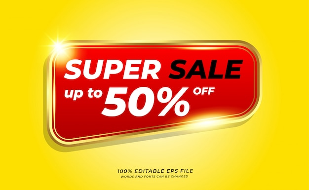 Yellow super sale banner with golden outline on red background Premium Vector