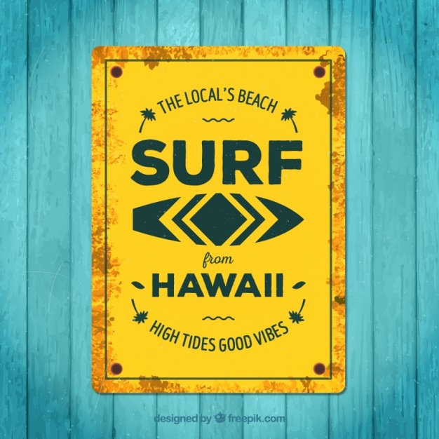 Yellow Surf Poster In Vintage Style Premium Vector