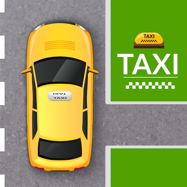 Yellow taxi cab top view banner Free Vector