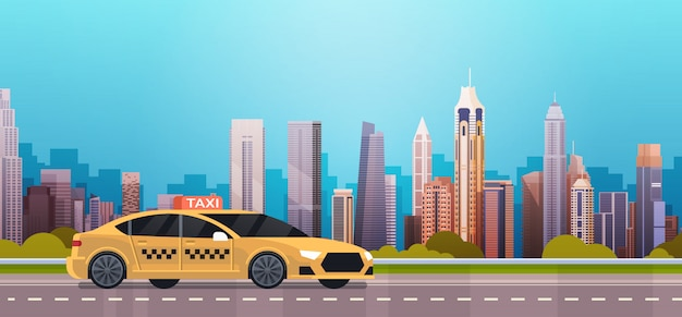 Yellow taxi car cab on road over modern city background Premium Vector