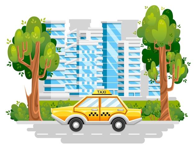Желтое такси. такси. автомобиль на дороге в современном городе. синие здания с зеленым деревом и кустами. . иллюстрация Premium векторы