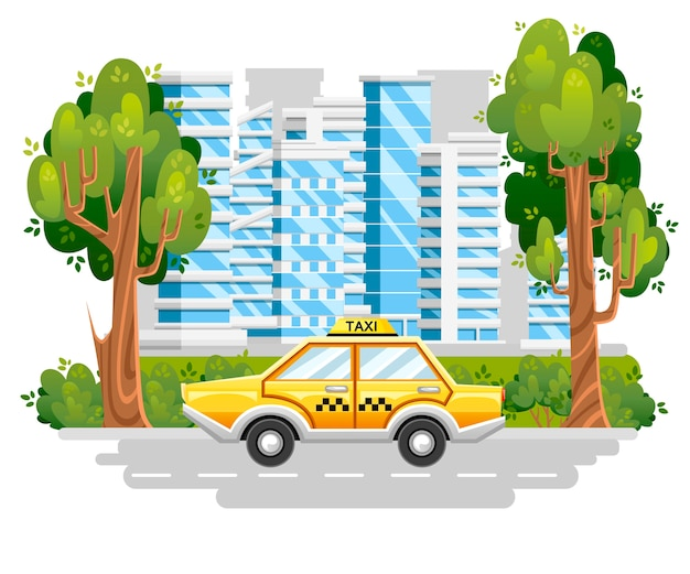 Yellow taxi car. taxi service. car on road in modern city. blue buildings with green tree and bushes.   .  illustration Premium Vector