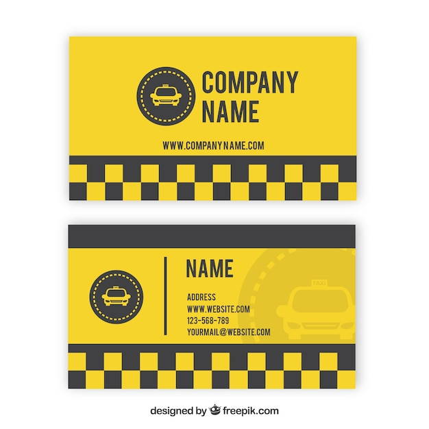 Yellow taxi card with squares Free Vector