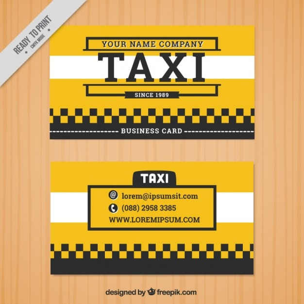 Yellow taxi card Free Vector