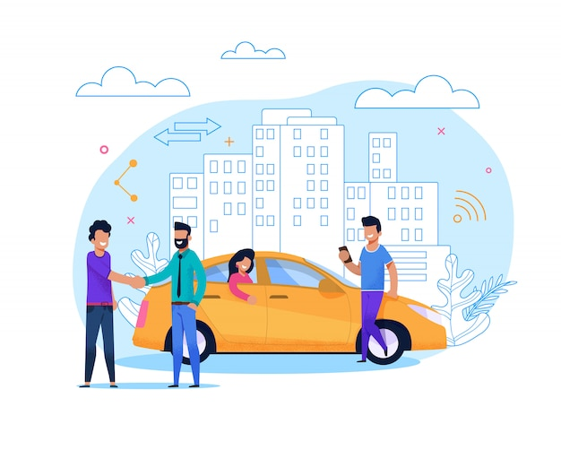 Yellow taxi order or share. flat line illustration Premium Vector