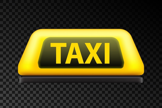 Yellow taxi service car roof sign on the street. Premium Vector