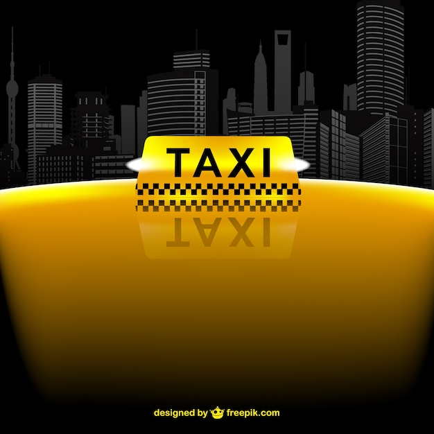 Yellow taxi and skyline Free Vector