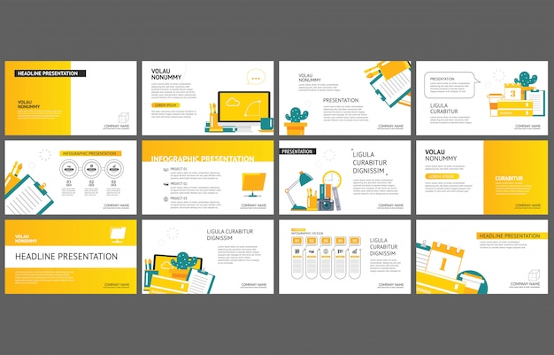 Yellow template for slide presentation on background. Premium Vector
