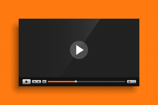 Yellow theme video media player interface template Free Vector