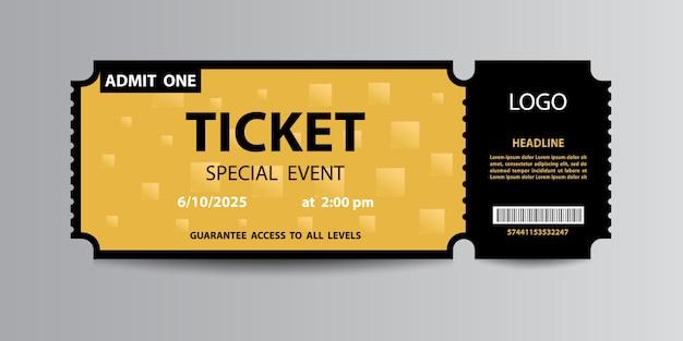 Yellow ticket Premium Vector