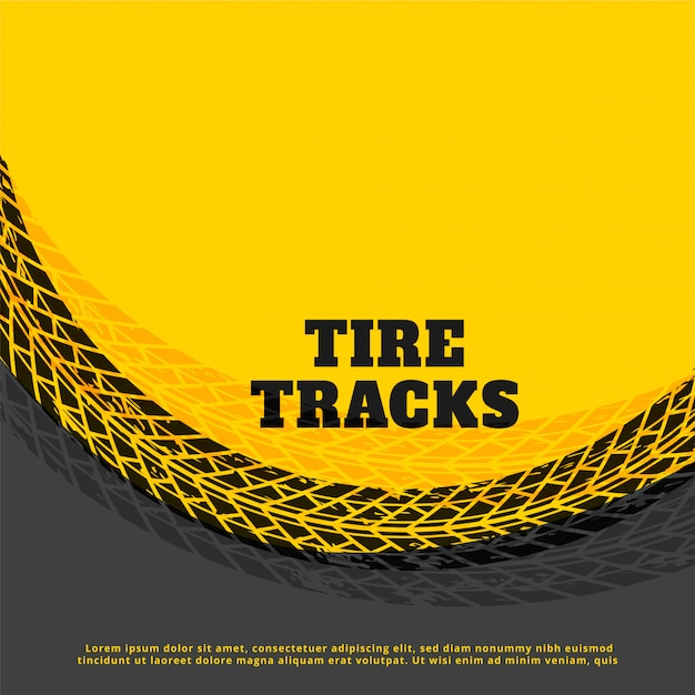 Yellow tire track print mark background Free Vector