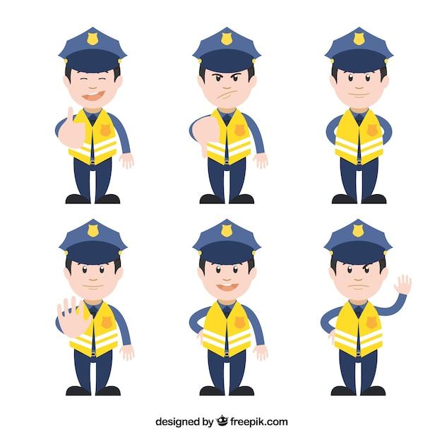 Yellow Traffic Policeman Characters Vector