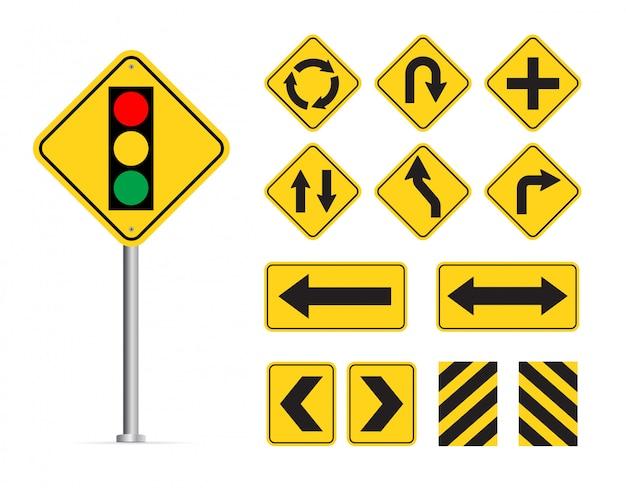 Желтый дорожный знак на белом фоне Premium векторы