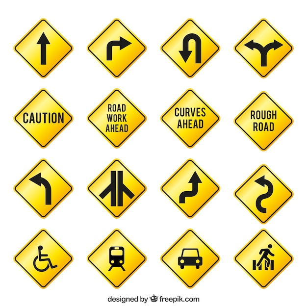 yellow traffic signs vector premium download