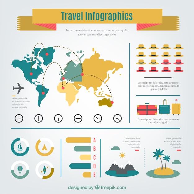 Yellow travel infographics Free Vector