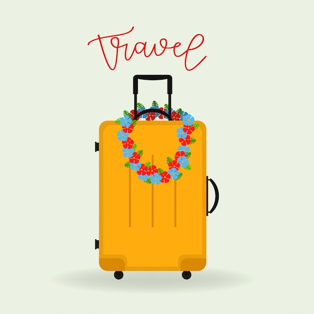Yellow travel suitcase. Premium Vector