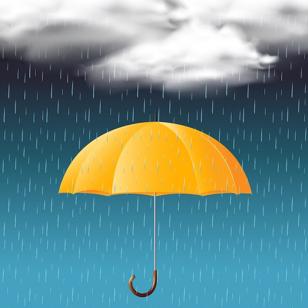 yellow umbrella and rainy season vector premium download