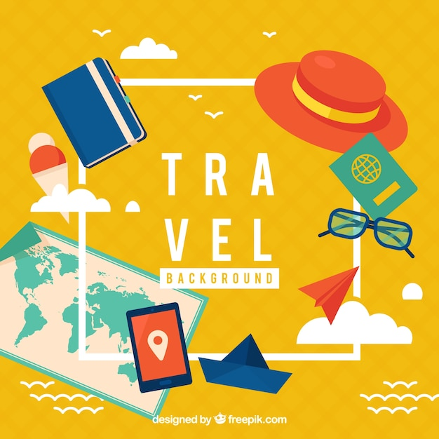 Yellow vacation elements background