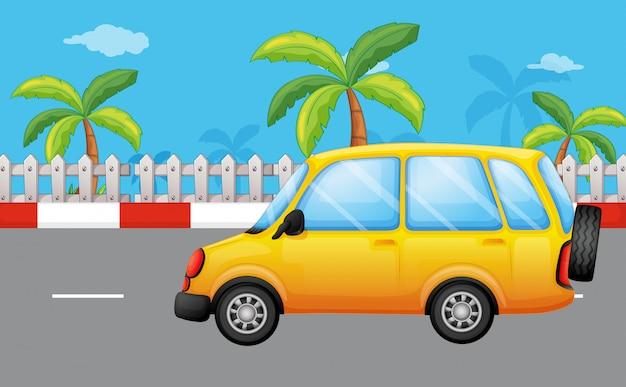 A yellow van at the road Free Vector