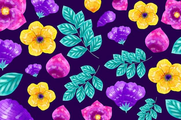 Fiori gialli e viola con foglie esotiche motivo di sfondo Vettore gratuito