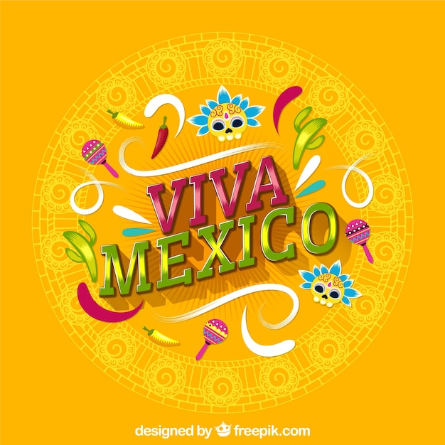 Yellow viva mexico lettering background Free Vector