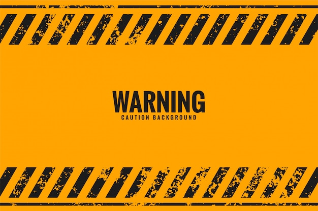 Yellow warning background with black stripes lines Free Vector