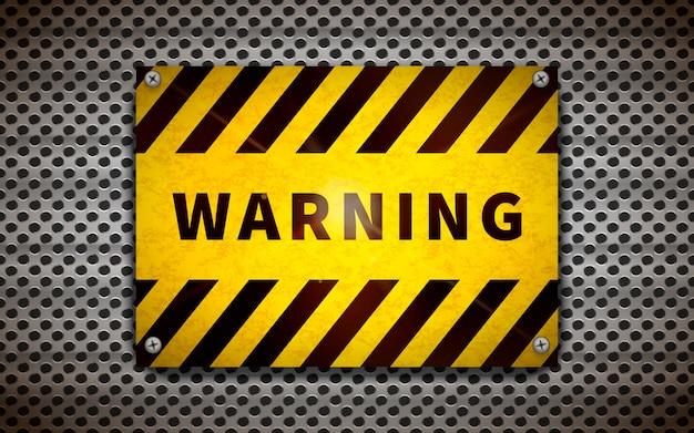 Yellow warning plate on metallic grid, industrial background Premium Vector