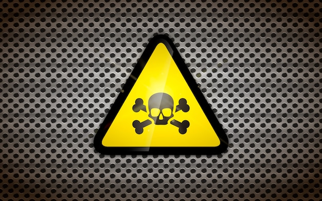 Yellow warning sign with black skull on metallic grid, industrial background Premium Vector