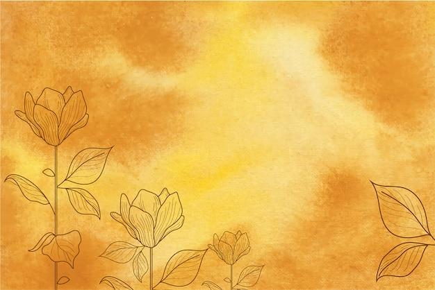 손으로 그린 꽃과 노란 수채화 배경 프리미엄 벡터