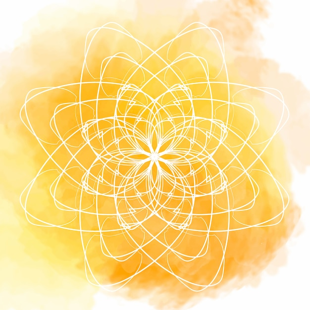 Yellow watercolor background with white flower\ mandala