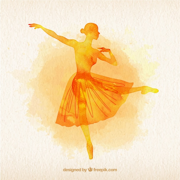 Yellow watercolor ballet dancer\ silouette