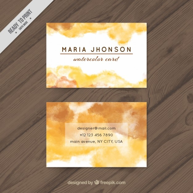 Yellow watercolor business card Free Vector
